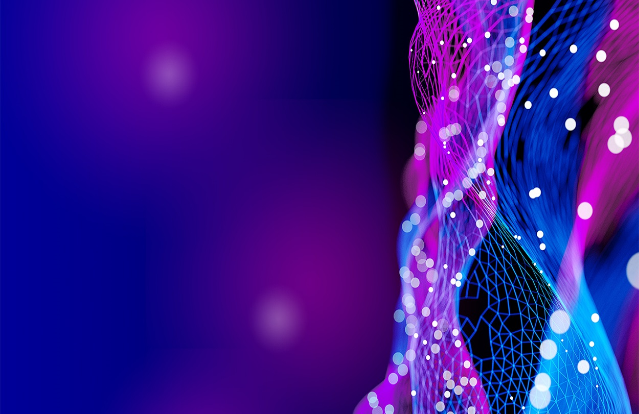 Thread like network of digital lines in blue and purple color